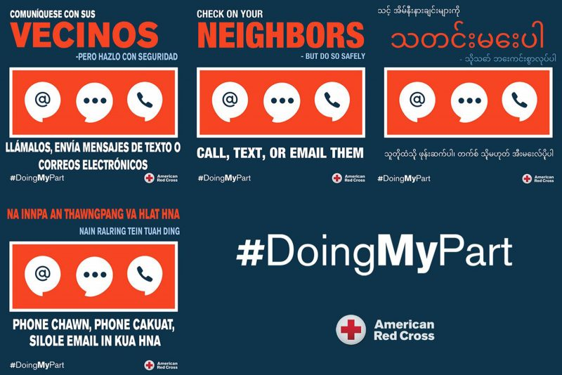 American Red Cross Launches #DoingMyPart Campaign, Translated Into Six Languages to Encourage All to Join Fight Against COVID-19